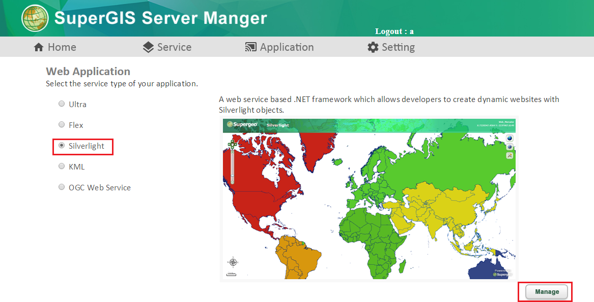 SuperGIS Server Manager for GIS Web Application > Creating
