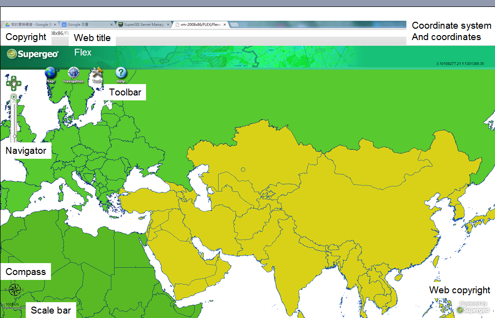 Supergis server manager for gis web application creating supergis furthermore flex website also provides quick pan quick zoom inout compass and scale in map display area for users to browse map data easily gumiabroncs Gallery